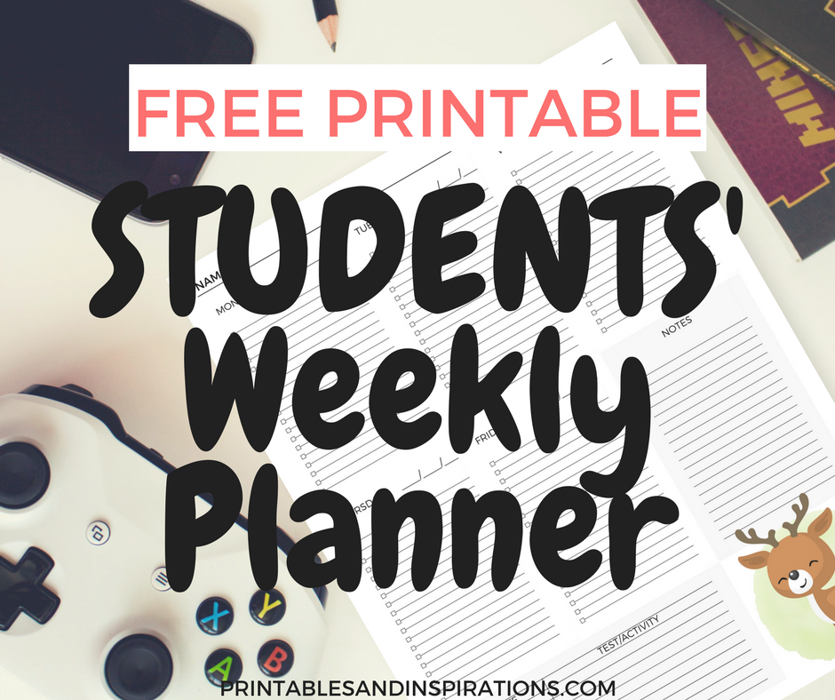 Student planner, free printable student weekly planner, teacher resources, homework organization