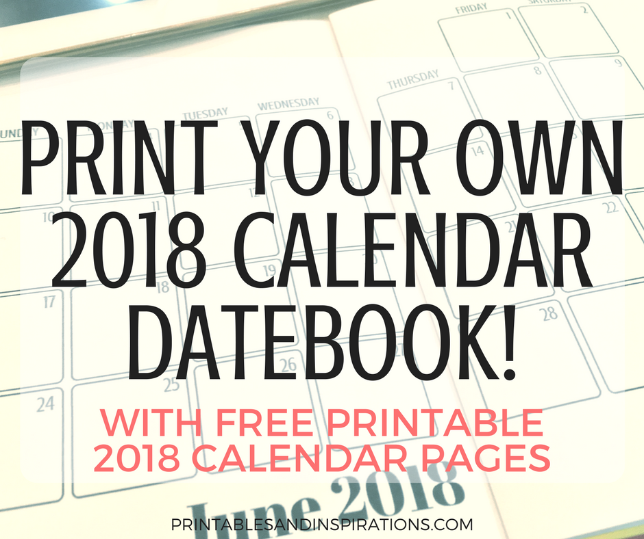 2018 calendar datebook, free printable monthly planner, monthly spread layout, gift idea